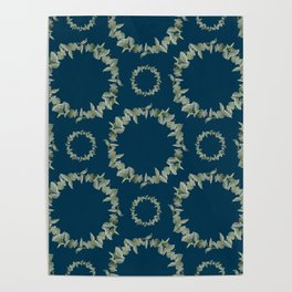 Eucalyptus Patterns with Navy Blue Background Realistic Botanic Patterns Organic & Geometric Pattern Poster