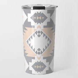 Southwestern Navajo Tribal, Gray, White, and Nude Blush Travel Mug