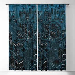Night light city / Lineart city in blue Blackout Curtain
