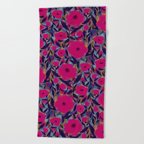 Layered Leaf Floral Fuchsia Beach Towel