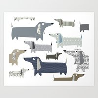 daschund Art Prints featuring Weiner Dog Pattern by Taylor Engelsman