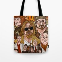 lebowski Tote Bags featuring The Big Lebowski by David Amblard