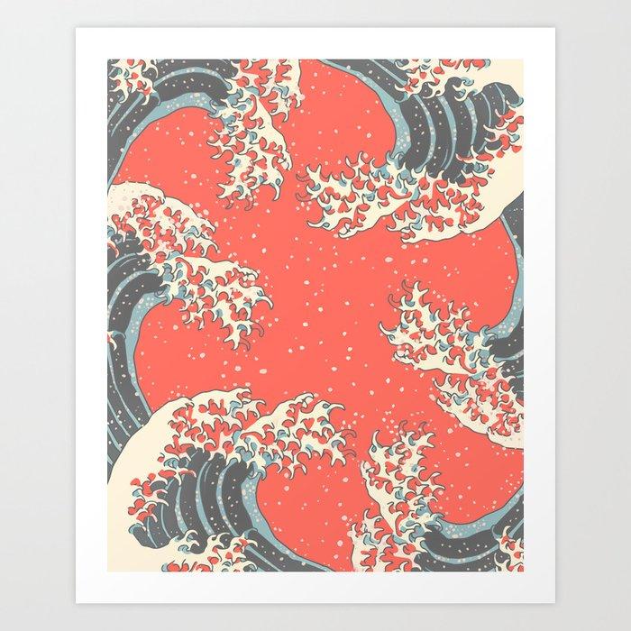 Wavy II - Living Coral Art Print