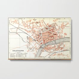 Vintage Map of Solothurn Switzerland (1913) Metal Print