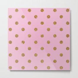 Pink Pearl Gold Glitter Dot Pattern Metal Print