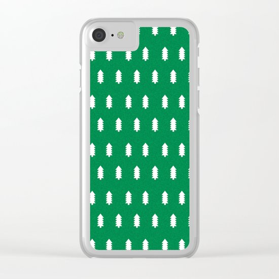 Christmas Trees minimal modern green and white holiday christmas decor Clear iPhone Case