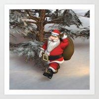santa Art Prints featuring Santa by Design Windmill