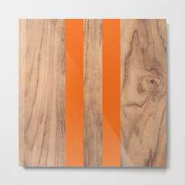 Wood Grain Stripes Orange #840 Metal Print