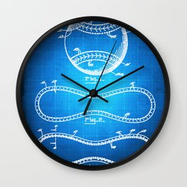 Baseball Patent Blueprint Drawing Wall Clock