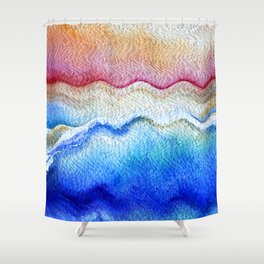 Sunset waves in watercolor Shower Curtain