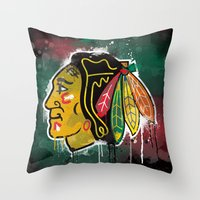 blackhawks Throw Pillows featuring chicago blackhawks hockey by abstract sports