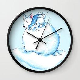 A Fluffball on a Snowball Wall Clock