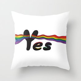 Rainbow Yes Throw Pillow