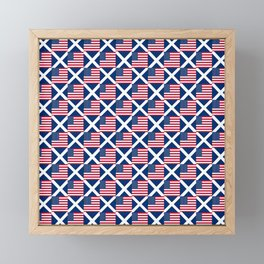 Mix of flag: usa and scotland Framed Mini Art Print