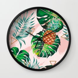 Pineapple plants and triangles Wall Clock