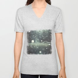 Moments of Silence - Snowflakes over the river Unisex V-Neck