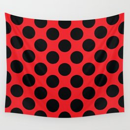 Red with black dots Wall Tapestry