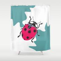 ladybug Shower Curtains featuring Ladybug by Kate