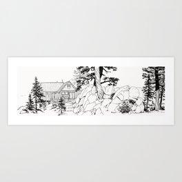 MOFFITT CABIN, Travel Sketch by Frank-Joseph Art Print