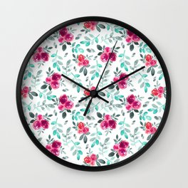 Watercolor fuchsia turquoise hand painted floral Wall Clock