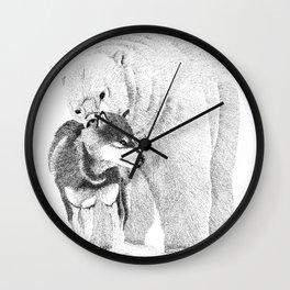 Eskimo dog and Polar bear pointillism illustration Wall Clock