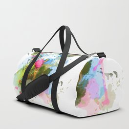 Vibrant painted thistle on white Duffle Bag
