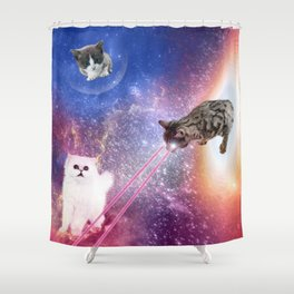 Adventures with Space Cats Shower Curtain