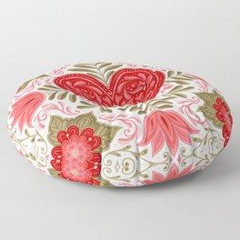 Folk Art Heart- Cream Background Floor Pillow