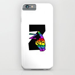 American sign language Letter Z in rainbow colors iPhone Case