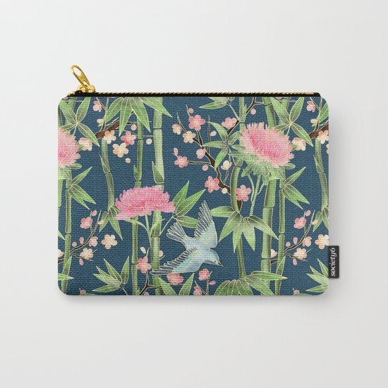 Bamboo, Birds and Blossom - dark teal Carry-All Pouch