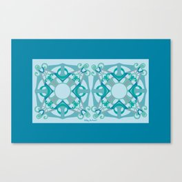 Support Love Mandala x 2 - Aqua/Blue Canvas Print
