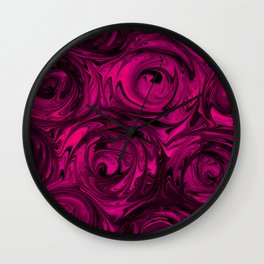 Berry Fuchsia Roses Wall Clock