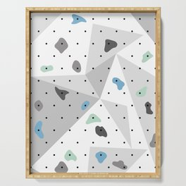 Abstract geometric climbing gym boulders blue mint Serving Tray