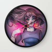 cyarin Wall Clocks featuring Bonfire Spell by Cyarin