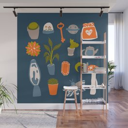 Minimalist Teenage Bedroom Blue Flash Sheet Wall Mural