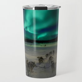 Winter Northern Lights Dog Sled (Color) Travel Mug