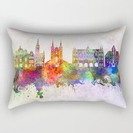 Gdansk skyline in watercolor background Rectangular Pillow