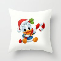 donald duck Throw Pillows featuring Christmas baby Donald Duck by Yuliya L