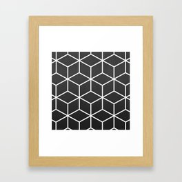 Charcoal and White - Geometric Textured Cube Design Framed Art Print