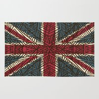 union jack Area & Throw Rugs featuring Union Jack - Vintage Tribal by ArtLovePassion