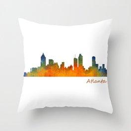 Atlanta City Skyline watercolor Hq v1 Throw Pillow