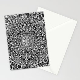 Grey Geometric Floral Mandala Stationery Cards