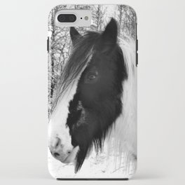 Horse. Black+White.Snow. iPhone Case