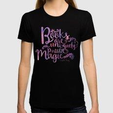 Books are Uniquely Portable Magic Womens Fitted Tee Black MEDIUM