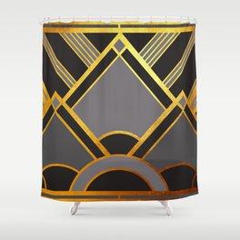 Art Deco New Tomorrow In Grey Shower Curtain