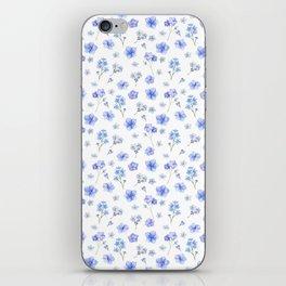 Elegant blush blue yellow watercolor floral pattern iPhone Skin