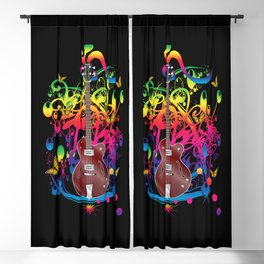 Bass Guitar Color splash Blackout Curtain