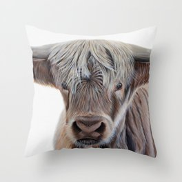 Highland Cow Acrylic Painting Throw Pillow