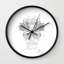Tribal Self-Portrait - charcoal and paper Wall Clock