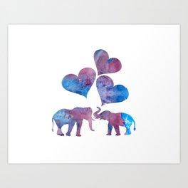 Elephants art Art Print